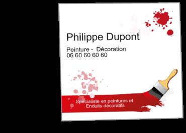Cartes De Visite Carrees Personnalisable Peintre Peinture Pinceau