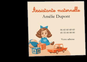 Cartes Visite Carres Personnalisable Jouet Assistante Maternelle