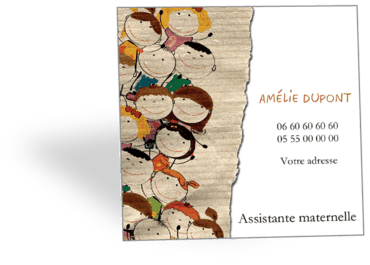 Cartes Visite Carrees Personnalisable Assistante Maternelle