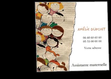 Cartes Visite Carres Personnalisable Assistante Maternelle