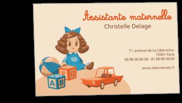 Grandes Cartes De Visite Personnalisable Assistante Maternelle