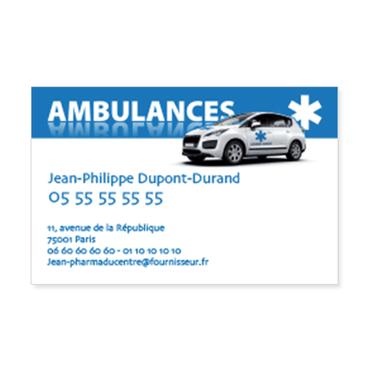 Cartes De Visite Classique Personnalisable Ambulance Toile