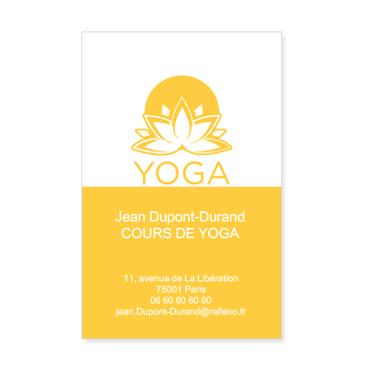 Carte De Visite Verticale Classique Personnalisable Yoga Jaune