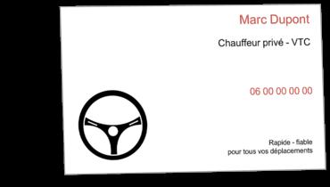Grandes Cartes De Visite Personnalisable Chauffeur VTC