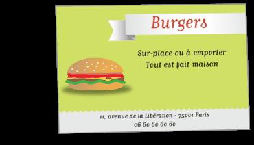 Cartes Visite Classique Personnalisable Fast Food Burger