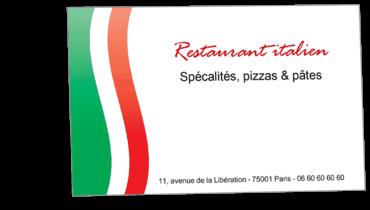 Grandes Cartes De Visite Personnalisables Restauration Italienne
