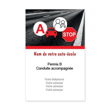 Carte De Visite Verticale Classique Personnalisable Auto Ecole